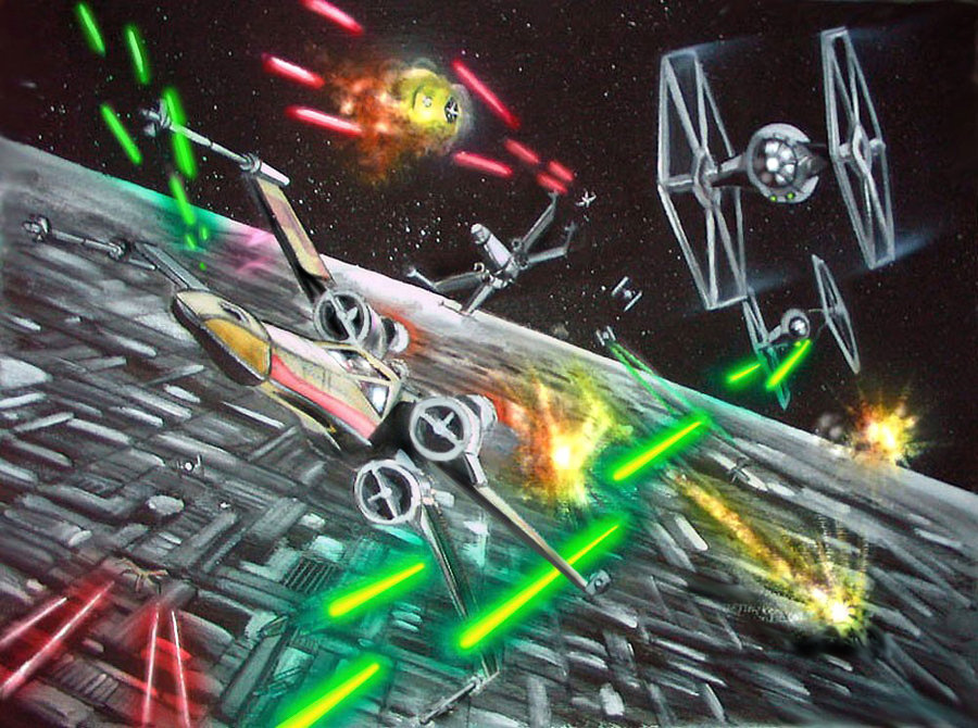 X-Wings and TIE fighters battling it out around the Death Star.