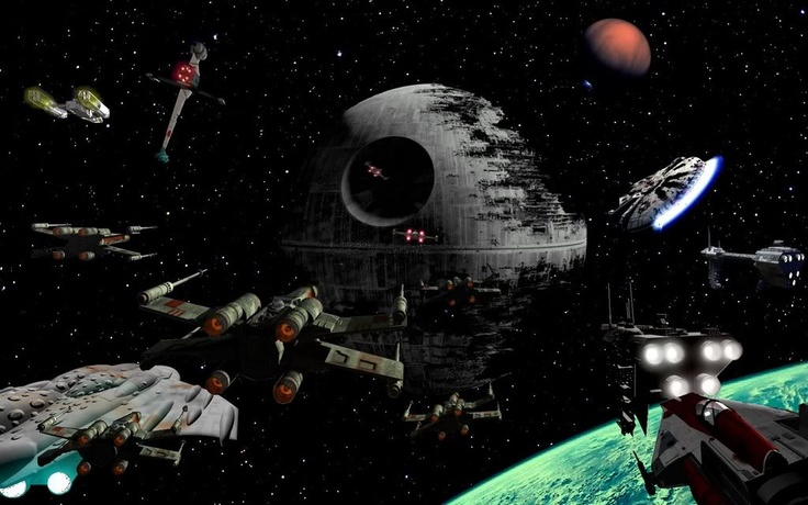 Rebel ships attacking the second Death Star above Endor.