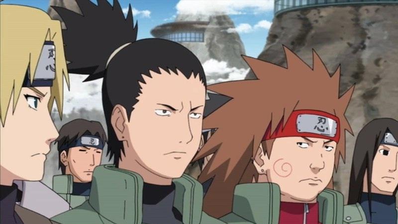 Shikamaru, Choji, and Temari preparing for war.