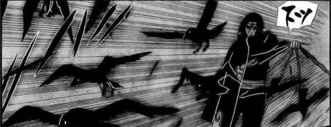 Itachi revealing crows from inside his cloak as part of his genjutsu.