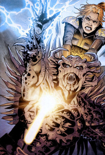 Azlyn stabs Darth Krayt.