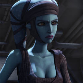 Aayla in the 2007 Clone Wars television show.