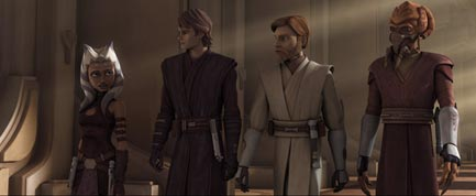 Koon with Ahsoka Tano, Anakin Skywalker, and Obi-Wan Kenobi.