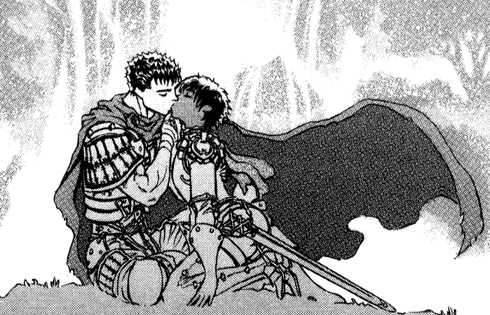 Caska shares a kiss with Guts.