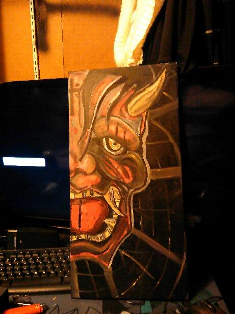 ComicVine, meet my guardian. Not sure of a name, however this is my watchful protector. I did this out of respect for Japanese culture and artwork however added a little bit of my own flair to it. This is a hannya mask done with a lot of my artistic style as some may call it. I am a big fan of New School and Neo-Traditional tattoos. This is exactly 1 year after I started painting.
