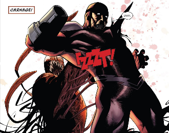 Klaw is killed by Carnage