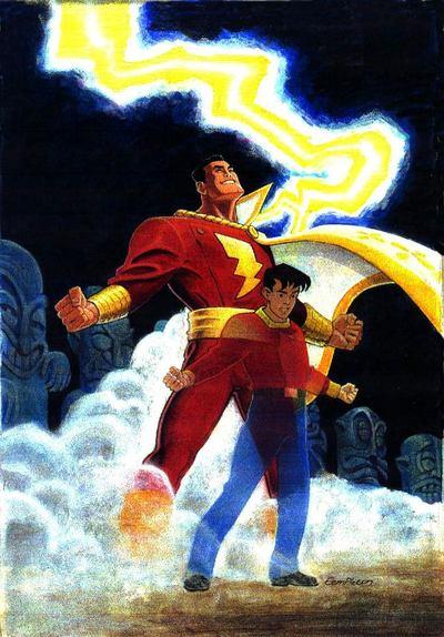 Billy Batson transforming into the World's Mightiest Mortal, Captain Marvel !