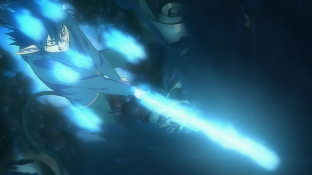 Rin unleashing his powers for the first time in the anime.