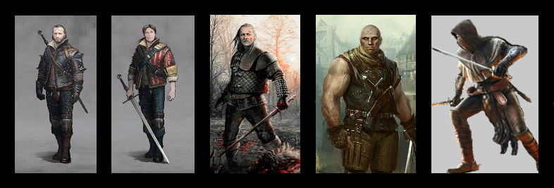 (from the left to the right) Lambert | Eskel | Vesemir | Letho | Unnamed Assassin