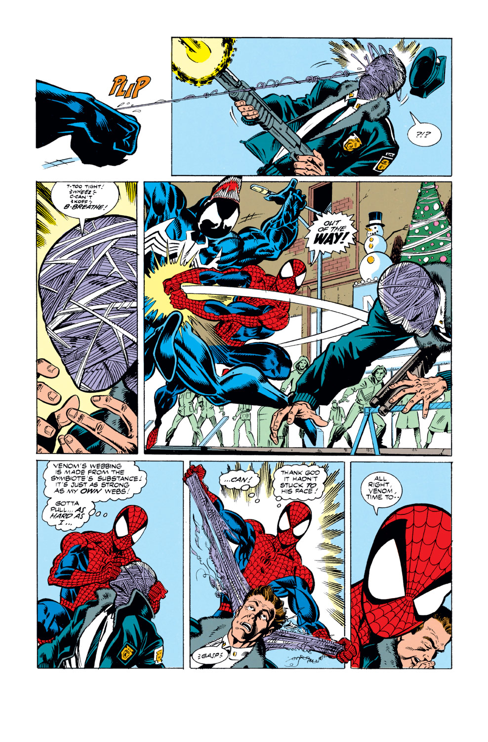 Venom's webbing is just as strong as his (also notable how Spider-Man and Iron Man is able to rip Venom's off, yet Iron Man apparently cannot for Peter's)