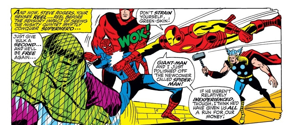 Iron Man KO's Spider-Man with a punch (this was a time where Stan Lee wanked him too).