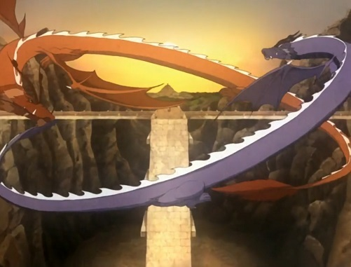 The dragons, Ran and Shaw, forming the Taijitu (The Last Airbender: Book 3,