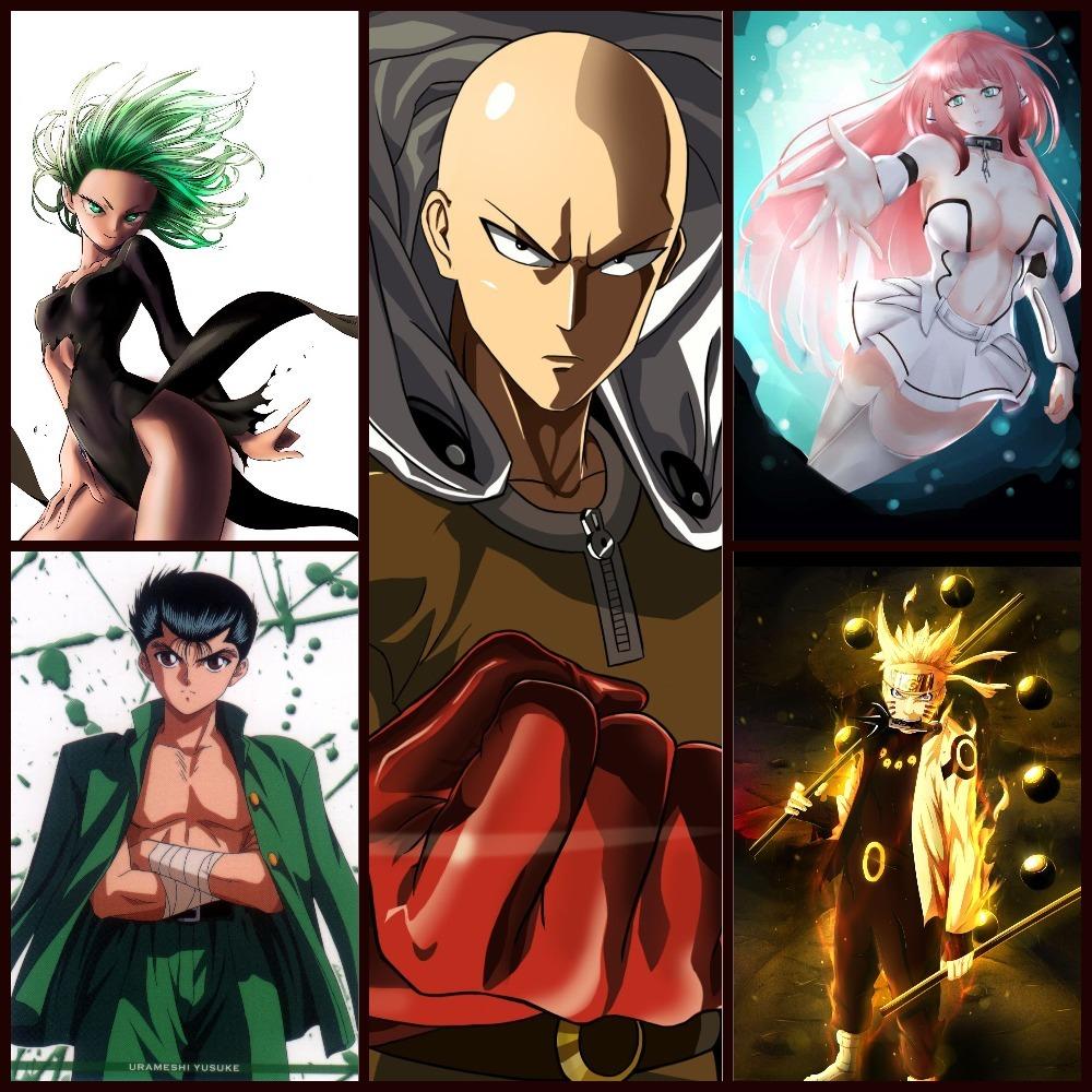 Tatsumaki, Yusuke, Saitama, Ikaros, and Naruto