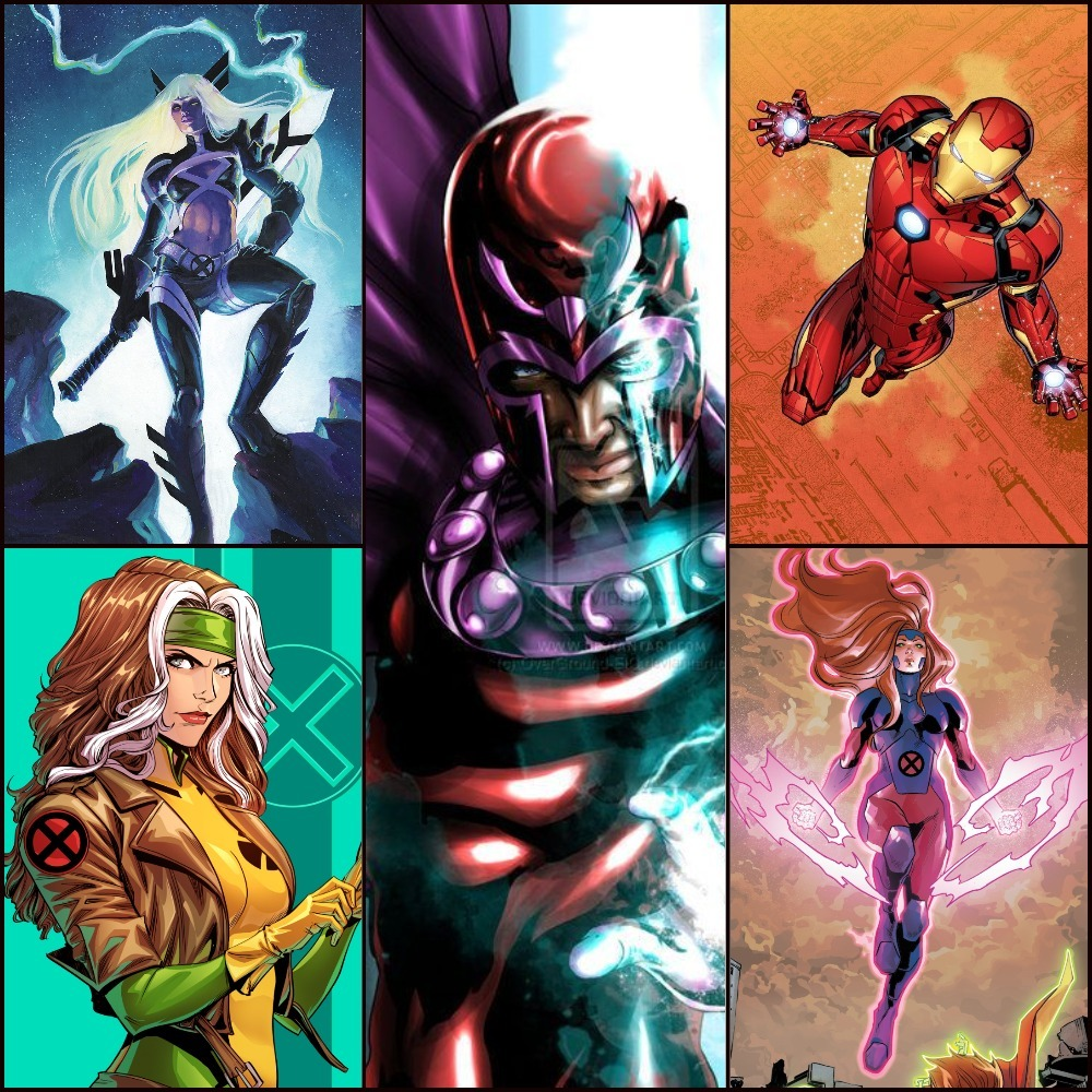 Magik, Rogue, Magneto, Iron man, and Jean Grey