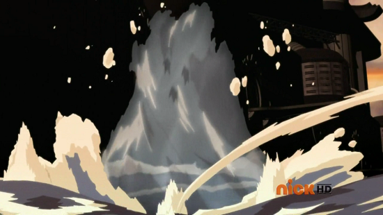 Korra creates a waterspout, this time with the equivalent of a tidal wave of water where volume is concerned. Her, Mako, and Asami are literally ants inside a cup of water here, individually the spout is 10-12x the length of their body and since it's cylindrical it's diameter is that all around, of course the waterspout would adjust size as Korra gets closer to the ship
