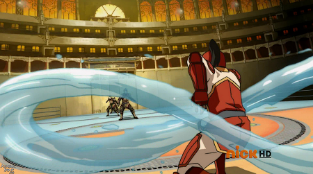 Korra creating a water ring once again to prepare her final attack