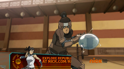 Here Korra uses an awesome(and completely random) technique where she binds a sphere of water in between two cross rings of water