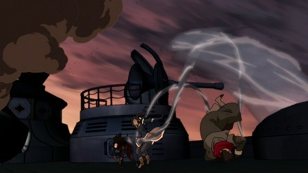 Korra can maintain a massive waterspout and water arms simultaneously