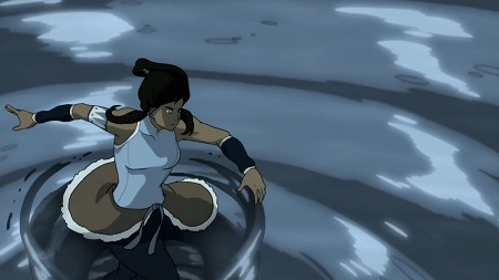 Korra can maintain a giant vortex of water while riding her water spout inside, with the techniques physically separated but maintained at once