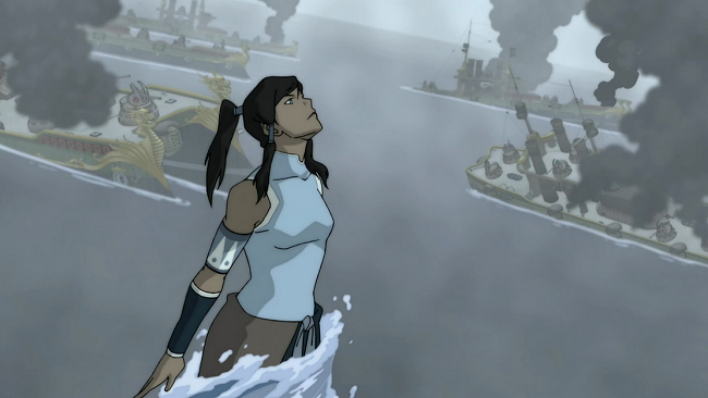 Korra tops herself with a waterspout later in S1 that towers over the United Republic's entire feet