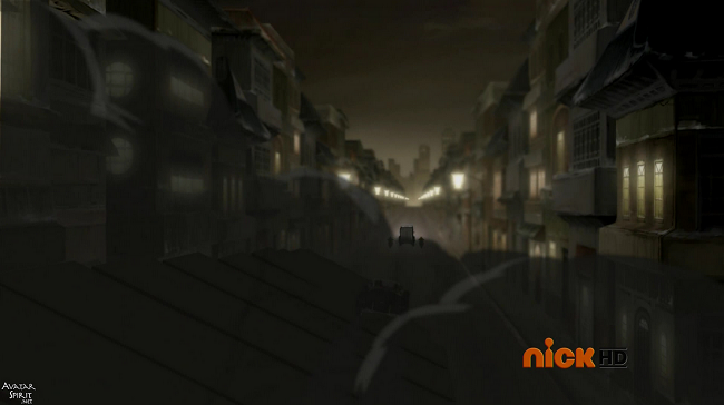The platform itself extends down the street and gets bigger, look how massive it is, each individual piece is comparable in length to the buildings and the entire street, incredible scale on Korra's part and effortless