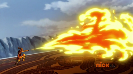 Korra uses a large flamethrower to launch away a white lotus sentry