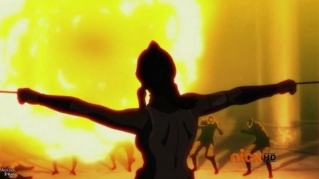 Uses a another huge fire blast with a single kick to knock away a group of equalists