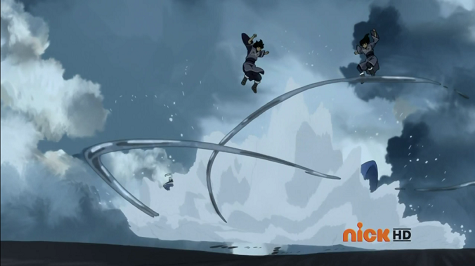 The scale and range of this is impressive, the resulting explosion from those thin streams shatter the ski's and completely dwarfs both the ski's and Desna and Eska