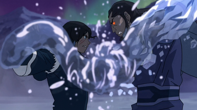 Korra is able to hold off and directly slam into Unalaq when's he's in the DAS in pure waterbending power, an incredible feat of sheer potency that she lasted that long in base