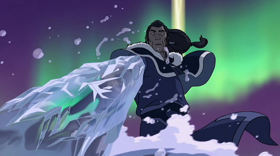 Both a technique and an example of precision Korra freezes the water around Unalaq's arm while leaving the rest of the water arm unfrozen to maintain it's flexibility to drag him down to her
