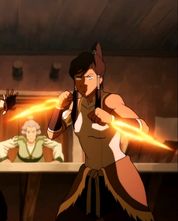 Korra can also create daggers of fire