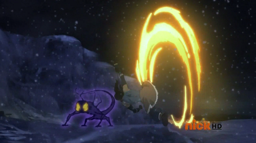 Korra can create saw's of fire to slide her opponents, here she uses her legs to launch one at the Rebel Spirit