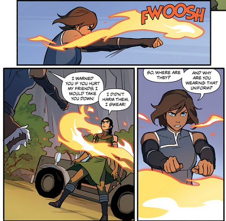 Korra creates a ring of fire to encircle and trap Kuvira