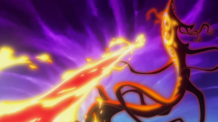 Unleashes a huge flamethrower against Vaatu, decently comparable to him in length though without the AS she can't land it