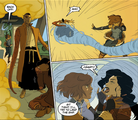 Korra covers hers and Asami's heads with sphere's of air to breathe in and protect their heads from the toxic gas