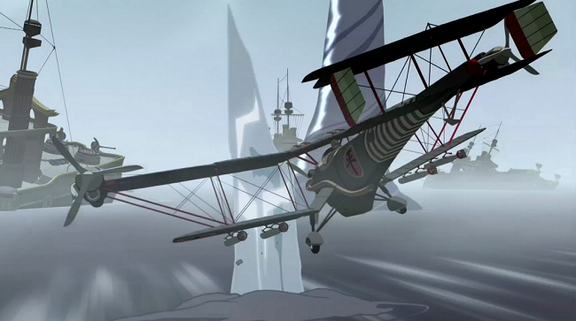 Korra raises a huge iceberg out of the ocean, far larger than a bi-plane and strong enough to take it down