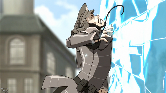 Korra raises and freezes a wave between her and the metalbending officer, while ensnaring his cable, forcing him to crash and let go