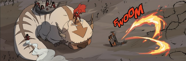 Korra rapidly twirls her legs to create two large blades of fire to ward off an onslaught of spirit weeds