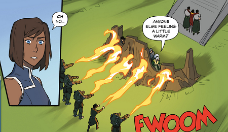 Mako and four mecha suits unleash a combined fiery assault on Toph, Kuvira, and Suyin