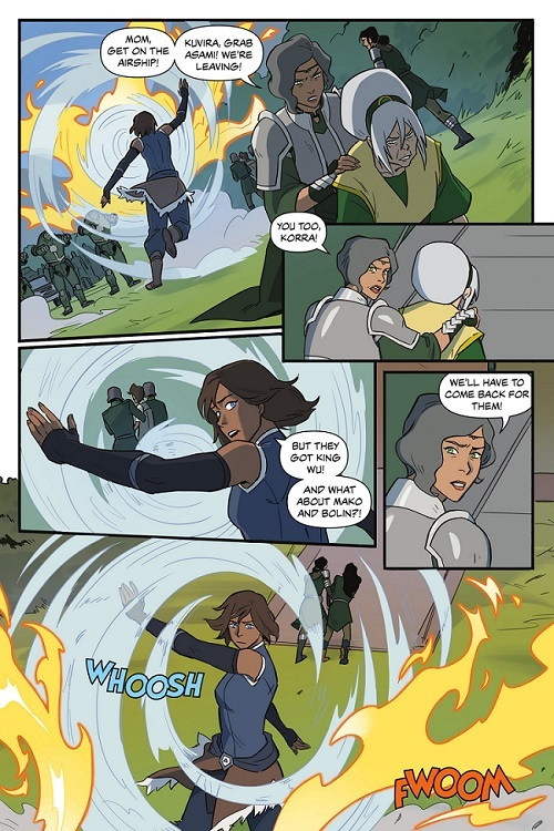 Korra blocks the full force with an air shield effortlessly and keeps it up with no stress until everyone is able to get on board and fly away