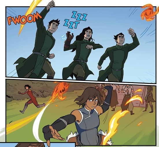 Korra deflects Bolin's lava shuriken with a simple air palm, keep in mind how powerful a single shuriken is, consistently going threw metal like butter