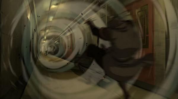 Sends Amon flying with a hallway sized air blast