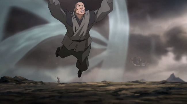 Freeze frame of the sheer scale, Korra doing this to 2/4 of the Red Lotus is very impressive especially when chained up