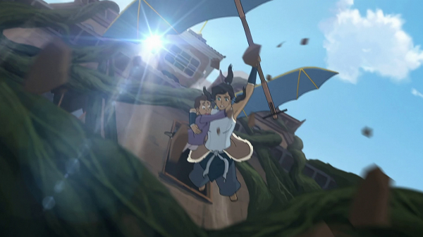 Korra doing superhero-esque daring rescues with a passenger, one armed, while part of a building gives her chase