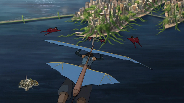 Korra can use a glider fast enough to keep up with glider suits