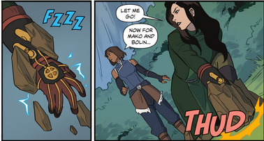 Fusses shards of earth over Asami's electric glove to create a makeshift shackle
