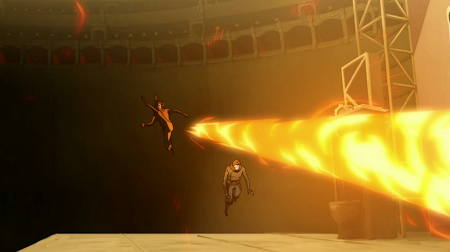 With firebending Korra unleashes a furious combo's at her enemies, here, even before landing she launches a huge slash of fire and large fire blast, outdoing Mako