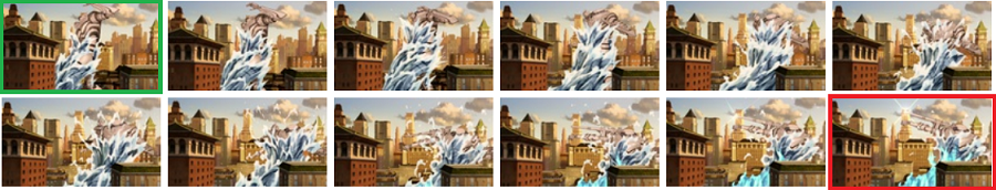 Frame by frame strip to show you where the Colossus started and ended to figure how far it was pushed