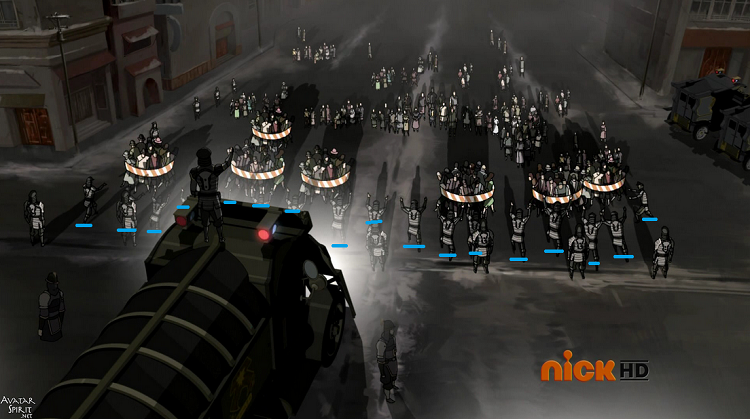 A fantastic example of the sheer power Korra commands is when Tarrlok has an entire battalion of metal benders round up and raise boulders/platforms in the air to trap the non bending protesters, just count how many officers are actively bending as I highlighted, well over a dozen!