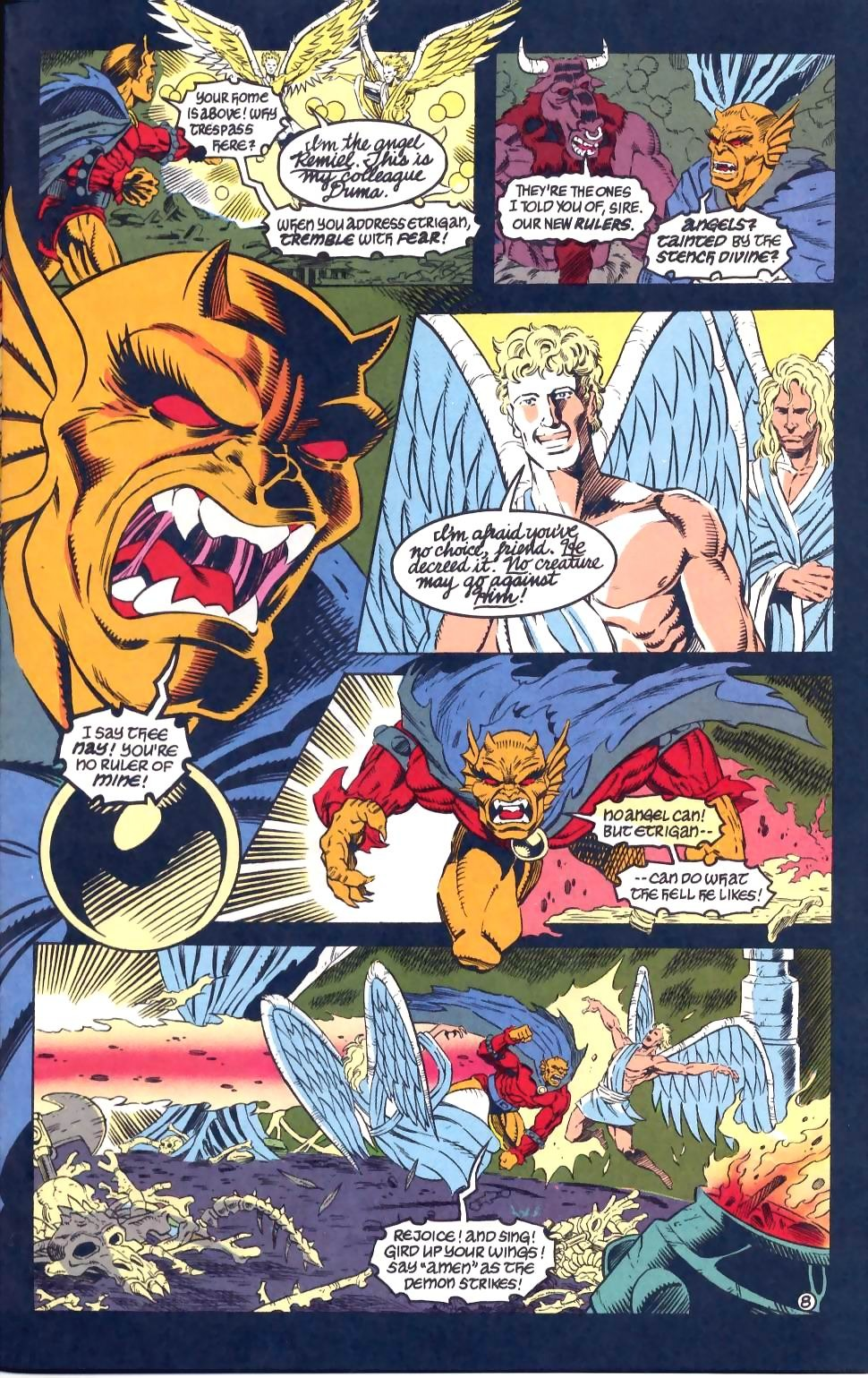 Etrigan rushes the 2 angels that the Presence sent to rule hell
